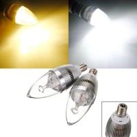 Top Brand E12 3W 3 LED White/Warm White LED Silver Candle Light Bulb