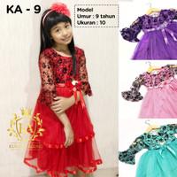 Promo Gaun Rok Baju Pesta Dress Princess Anak Perempuan 2-12 tahun KA9 - 2-3 tahun, Merah
