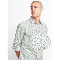 Kemeja GAP Standard Fit Shirt Cotton White Floral Original Putih