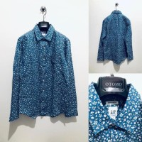 Kemeja GAP Standard Fit Shirt Linen Cotton Navy Floral Oxford