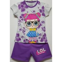 Setelan Sabrina (1-6 T) & (7-10 T) Kaos Anak Karakter LOL Batik Ungu