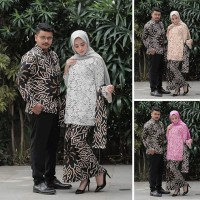 Baju Batik Couple Iriana Kebaya Brokat Hem Kemeja Lengan Panjang