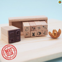 Stempel Dekorasi Kayu Cute Mini Wood Stamp Set 12pc Aneka Motif Bagus