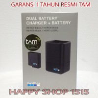 GOPRO DUAL BATTERY CHARGER + BATTERY HERO 6 & HERO 5