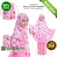 Mukena Anak Size M 5-6 Tahun Karakter Hello Kitty Cherry Tas Ransel