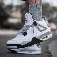 Sepatu Nike Air Jordan 4 Retro White Cement Premium Original