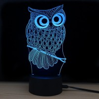 Shining Td182 Led Lamp 7 Color Changing LED 3D Lamp Owl Touch