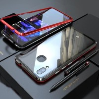 Hard Case Vivo V9 V11 V15 Pro Flip Magnetic Bumper Metal+Glass