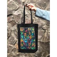 Big totebag handprinted | totebag canvas handmade - Love Hitam