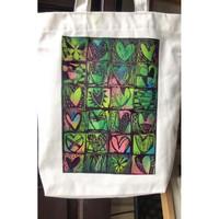 ToteBag Kanvas Laris Manis Handprinted - Love Putih