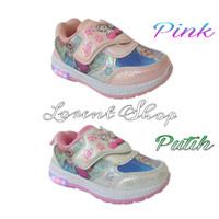 Sepatu anak Perempuan Frozen LED / Kets lampu import / Sport Running