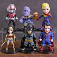 Figure Superhero Marvel DC Set 6 Thanos Batman Superman