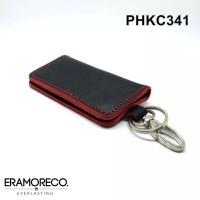 PHKC341 Dompet STNK Mobil Motor Kulit Asli - Gantungan Kunci -BLACKRED
