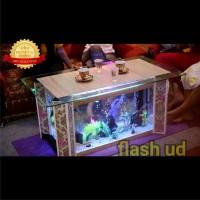 meja tamu unik mewah furniture ruang tamu ala aquarium