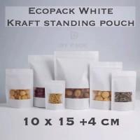 white kraft standing pouch ukuran 10x15,