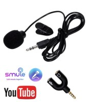 Paket Youtubers Microphone Clip On + Audio Splitter Shape U Vlogger