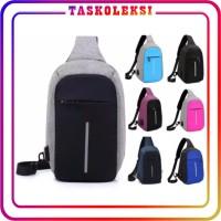 PROMO 💥 TK 💥 ANTI THIEF USB Tas Selempang Smart Bag Theft Anti