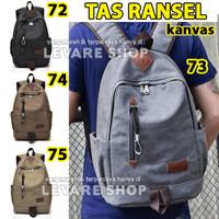 Tas Backpack Ransel Kanvas Import - Impor Pria Wanita Cowok Cewek Cowo