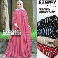 Stripy Gamis Muslim Jumbo Waffle Dress Big Size Stripe Casual Murah