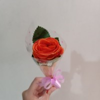 Bouquet Buket Bunga Kertas Plastik Artifisial Setangkai Mawar Orange