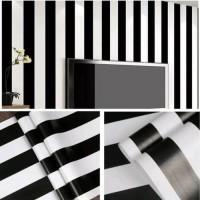 WALLPAPER SALUR HITAM PUTIH POLOS - Wallpaper Dinding 10M X 45Cm