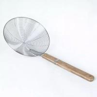 Saringan serokan parabola 26 cm gagang kayu serok gorengan stainles