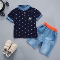 Setelan Bayi-Anak Laki-Laki + Celana Motif Denim