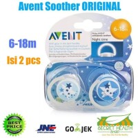 Avent Philips Empeng Night Time Soother Original 0-6M 6-18M Isi 2