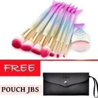 JBS New York Kuas Makeup Brush 8 Set Mermaid Brush K072+Dompet Kuas