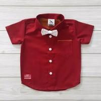kemeja hem baju anak bayi merah marun maroon distro