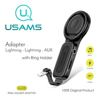USAMS AU06 Adapter Ring Holder Lightning To Lightning + AUX 3.5mm