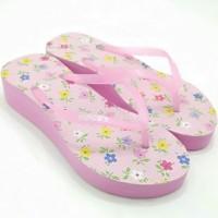 sandal sendal cewe wanita Mimoys batik jawa wedges jepit bunga pink