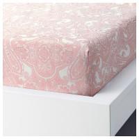 Seprai motif modern 180X200cm putih /pink berkaret JATTEVALLMO KATUN