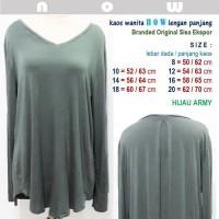 Kaos Wanita NOW - Lengan Panjang - Branded Ori Sisa Ekspor -Hijau Army