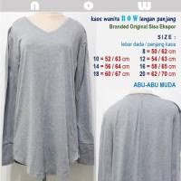 Kaos Wanita NOW - Lengan Panjang -Branded Ori Sisa Ekspor-Abu-abu Muda