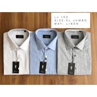 LJ 100. Size: XL Jumbo. Kemeja katun linen lengan pendek ukuran jumbo