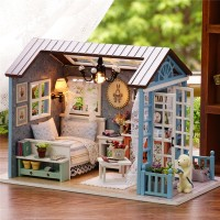Keren Cuteroom Wooden Kids Doll House With Furniture Staircase