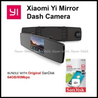 [BUNDLE] Xiaomi Yi Mirror Dash Camera Rear Front Dash Cam + 64GB