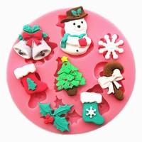 Cetakan Silikon Manusia Salju Natal Hiasan DIY Kue Fondan Bolu Cokelat