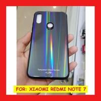 Xiaomi Redmi Note7 7 Glass Case Aurora Hardcase Kaca Color Pelangi