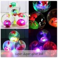 Super Duper Glitter ball water ball mainan bola bekel air nyala 70 mm