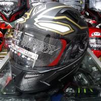 Helm Full Face KYT K2 Rider Motif Black Panther Black Doff / Gold