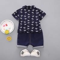 Setelan Bayi-Anak Laki-Laki Kerah +Celana Kaos Motif Denim