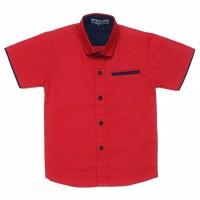 MAXKENZO hem kemeja baju katun anak bayi 1-10 tahun merah polos