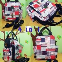 4 in 1 (Backpack/tas ransel,sling,jingjing,cangklong) Kanvas Handmade