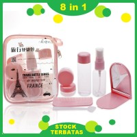 8in 1Set Travel Bag Tas Makeup Kosmetik Botol Spray/Cream+Sisir+Cermin
