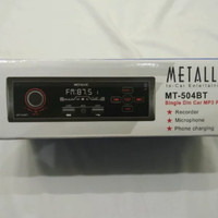 Head unit Single Din MT 504BT Radio SB Bluetooth Tanpa cd dan dvd mett