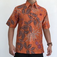 HEM0419005 Batik Sutra Putih Kemeja Tangan Pendek Katun Premium Orange