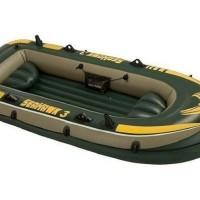 Paket Lengkap Perahu Karet Intex Seahawk 3 Pompa Dayung Alat tambal