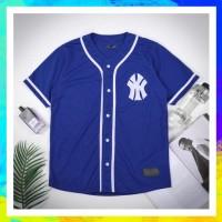 Jersey Baseball Yankees NY Blue Polos, kaos Baseball, Yogs Young Lex